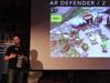 """Game-Designer Michael Sträubig präsentierte eine Vielzahl verschiedener """"Mixed-Reality-Games"""", sprach über Herausforderungen für Spielentwickler und über künftige Entwicklungsschritte."""