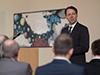 Auch Dr. Martin Wortmann war vor Ort und warb in der Begrüßungsrede um regen Austausch und enge Zusammenarbeit zwischen Berufskolleg, Hochschule und den regionalen Unternehmen.