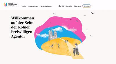 """""""Wir helfen Dir, zu helfen! Weil Dankbarkeit unbezahlbar ist."""" Studis aus dem dritten Semester redesignten die Website der """"Kölner Freiwilligen Agentur"""", um das ehrenamtliche Engagement in unserer Gesellschaft zu stärken."""